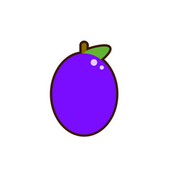 plum with leaf icon thin line for web and mobile vector image