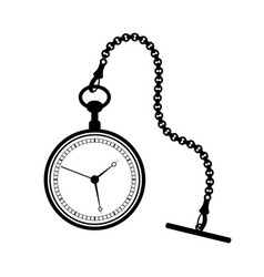 pocket watch with chain isolated on white vector image