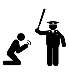 police brutality man begging with baton vector image