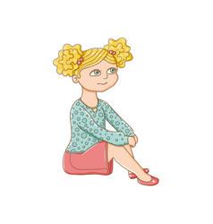pretty little blond girl sitting on the floor vector image