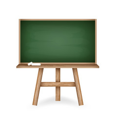 realistic green chalkboard with wooden frame vector image