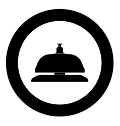reception bell icon black color in circle vector image