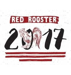 red rooster or cock symbol 2017 year hand vector image