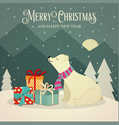 retro christmas card with polar bears and presents vector image