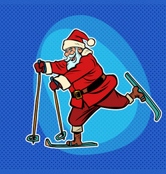 santa claus goes skiing comic cartoon pop art vector image
