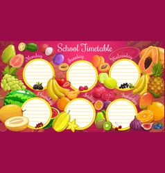School timetable or planner exotic fruits vector