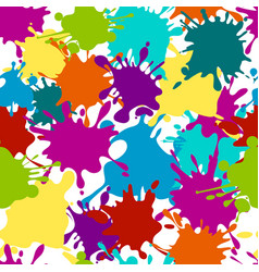 Seamless pattern paint splashes color vector