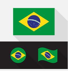 Set brazil flag flat design vector