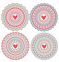 Set of isolated mandalas on Valentines Day vector