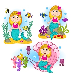 set of isolated mermaid under the water vector image