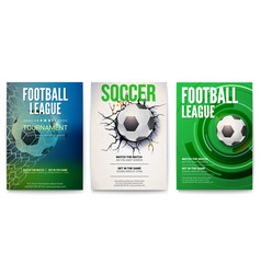 set of posters of football tournament or soccer vector image