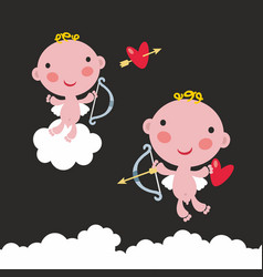 set of two cute baby angels with bow and arrows in vector image