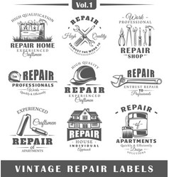 Set of vintage repair labels vol1 vector