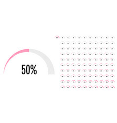 set semicircle percentage diagrams from 0 to vector image