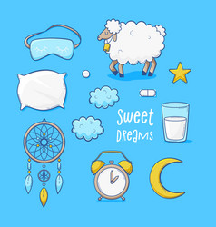 Sleeping set sweet dreams vector
