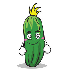 Smile face cucumber character cartoon collection vector