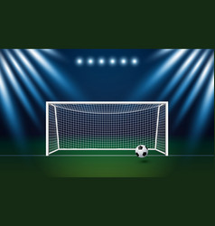 Soccer goal and football with spotlight vector
