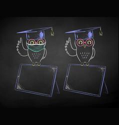 Student owl sitting on digital tablet vector