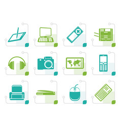 Stylized hi-tech technical equipment icons vector
