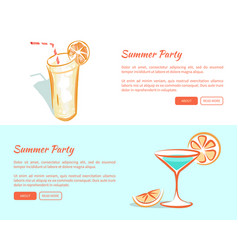 summer party cocktails in transparent glasses set vector image