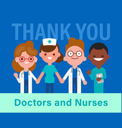 thank you doctors and nurses team doctors vector image