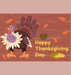 thanksgiving banner turkey flat graphic vector image