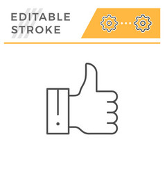 thumb up editable stroke line icon vector image