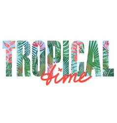 tropical time t-shirt print with exotic plants vector image