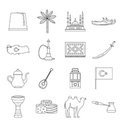 Turkey travel icons set outline style vector