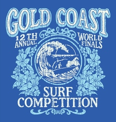 Vintage Surfing Tshirt Graphic Design vector image