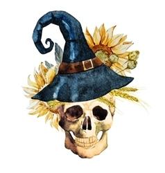 Watercolor halloween skull vector