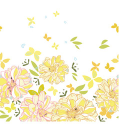 white border with dahlia and butterfliy vector image