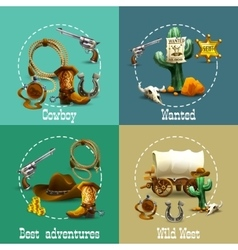Wild West Adventures Icons Set vector image