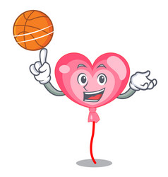 with basketball ballon heart character cartoon vector image