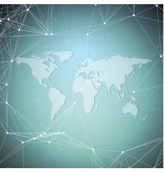World map on blue background global network vector
