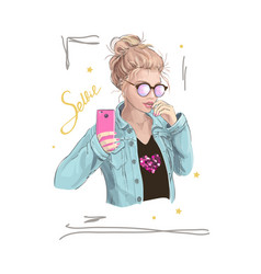 young girl in sunglasses and denim jacket vector image