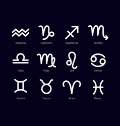 zodiac signs set isolated on black background vector image