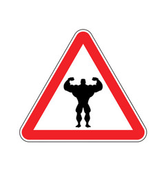 attention bodybuilding athlete on red triangle vector image vector image