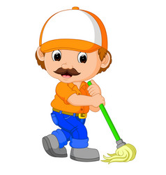 Funny cleaning service vector
