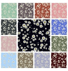 Seamless ditsy floral pattern set vector image
