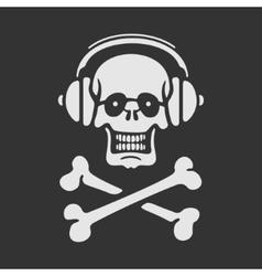Symbol Skull in Headphones vector image vector image