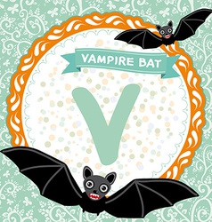 ABC animals V is vampire bat Childrens english vector image vector image