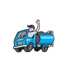 baby tanker truck driver waving cartoon vector image vector image