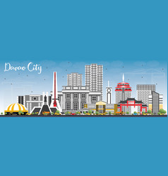 davao city philippines skyline with gray vector image vector image