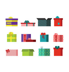 gift box anniversary event satin greeting object vector image vector image