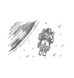 Hand drawn astronaut floating in outer space vector image vector image