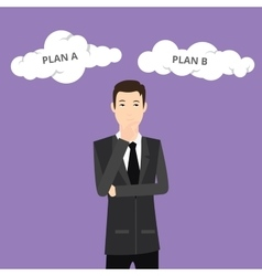 plan a plan b businessman think using suit and tie vector image vector image