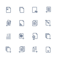set document icons paper icons vector image vector image