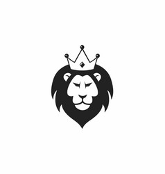 wild lion with crown logo icon design vector image vector image
