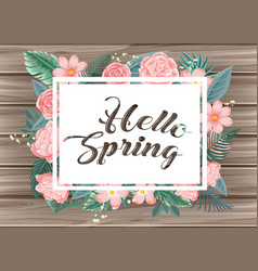wooden board with word hello spring vector image vector image